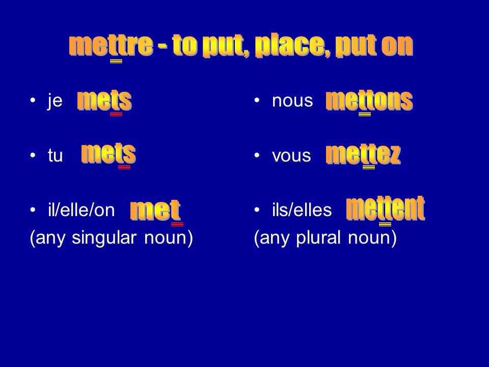 je tu il/elle/on (any singular noun) nous vous ils/elles (any plural noun)