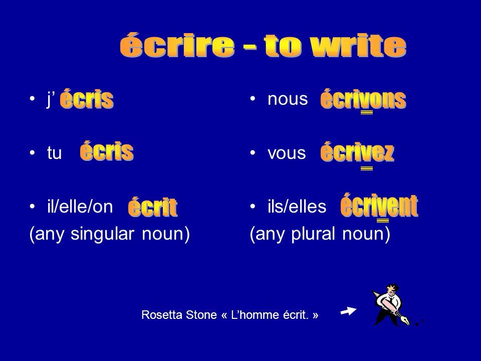 j tu il/elle/on (any singular noun) nous vous ils/elles (any plural noun) Rosetta Stone « Lhomme écrit. »