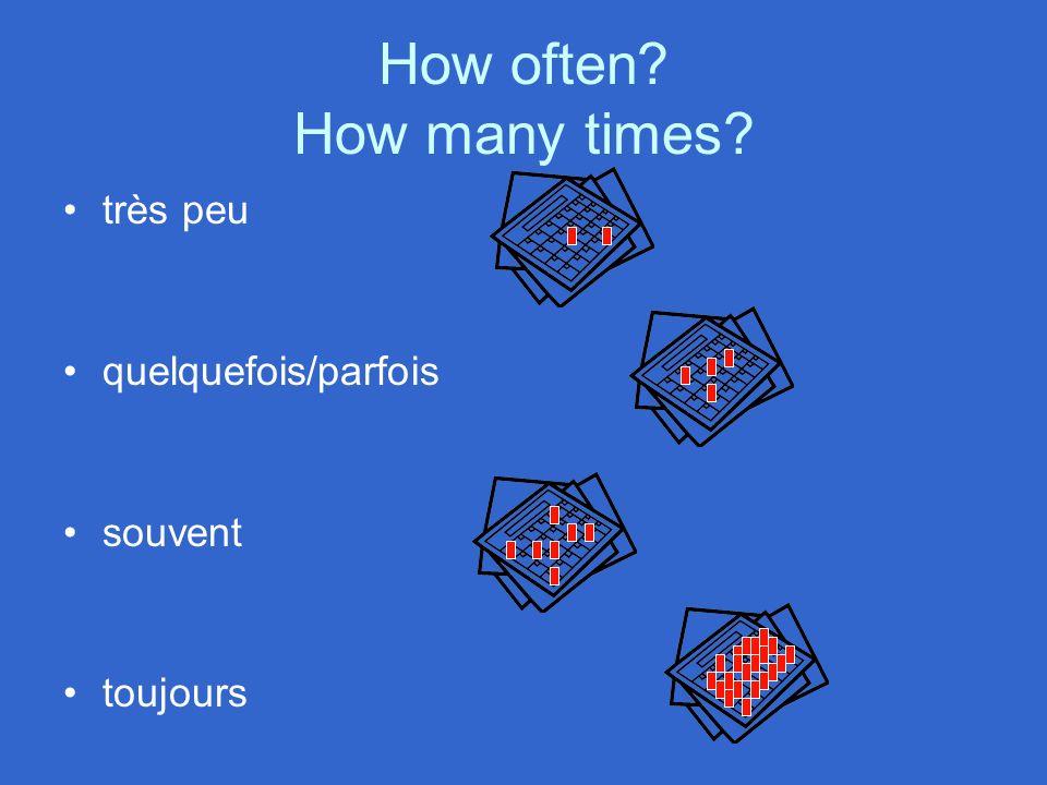 How often How many times très peu quelquefois/parfois souvent toujours