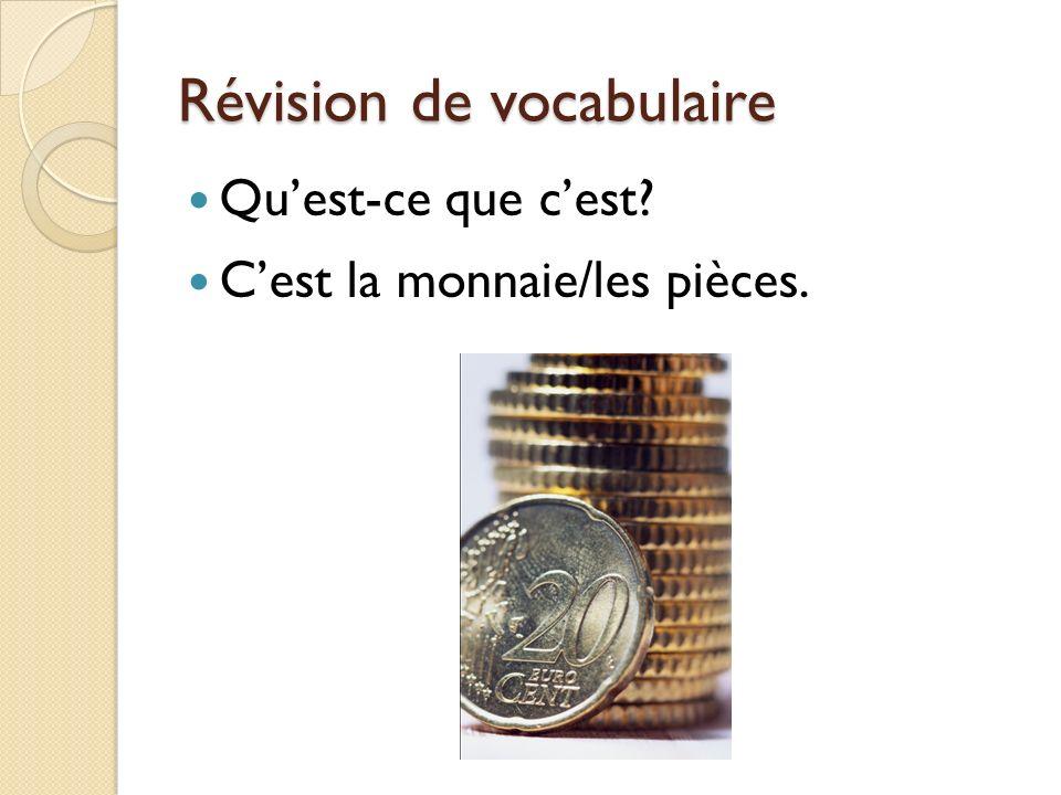 Révision de vocabulaire Quest-ce que cest? Cest la monnaie/les pièces.