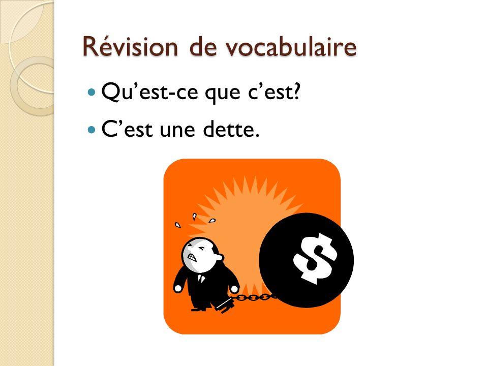Révision de vocabulaire Quest-ce que cest Cest une dette.