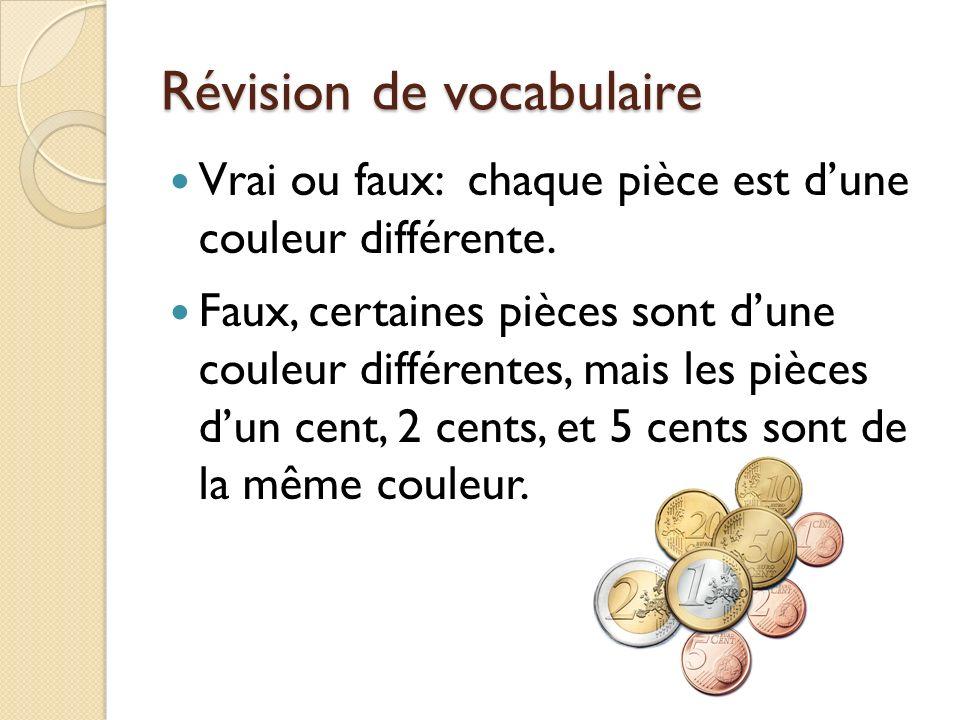 Révision de vocabulaire Vrai ou faux: chaque pièce est dune couleur différente. Faux, certaines pièces sont dune couleur différentes, mais les pièces