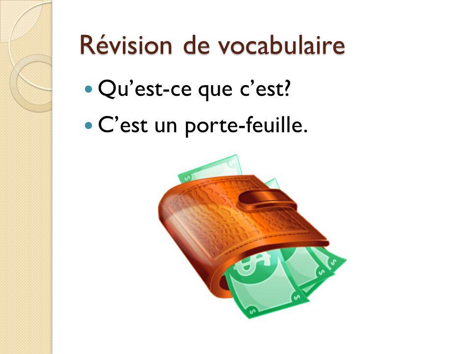 Révision de vocabulaire Quest-ce que cest? Cest un porte-feuille.