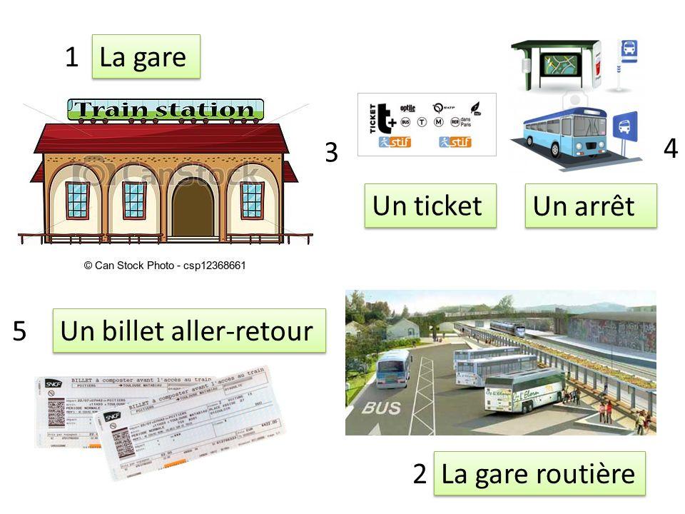 La gare routière Un arrêt Un billet aller-retour La gare 1 2 3 4 5 Un ticket
