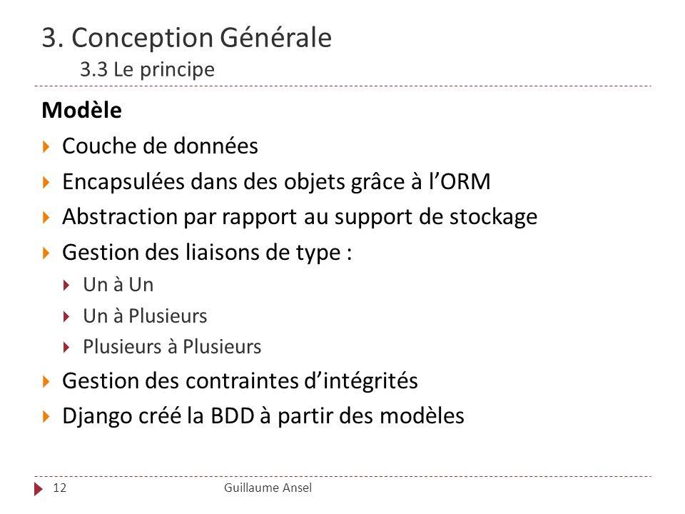 3. Conception Générale 3.3 Le principe Guillaume Ansel12 Modèle Couche de données Encapsulées dans des objets grâce à lORM Abstraction par rapport au