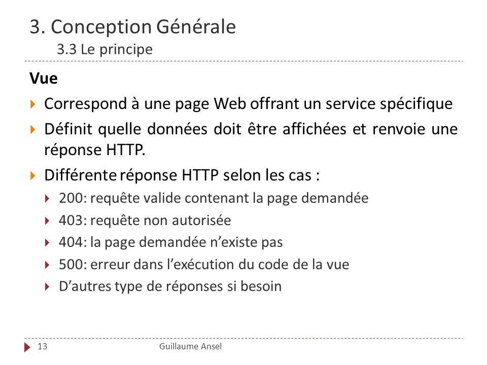 3. Conception Générale 3.3 Le principe Guillaume Ansel13 Vue Correspond à une page Web offrant un service spécifique Définit quelle données doit être
