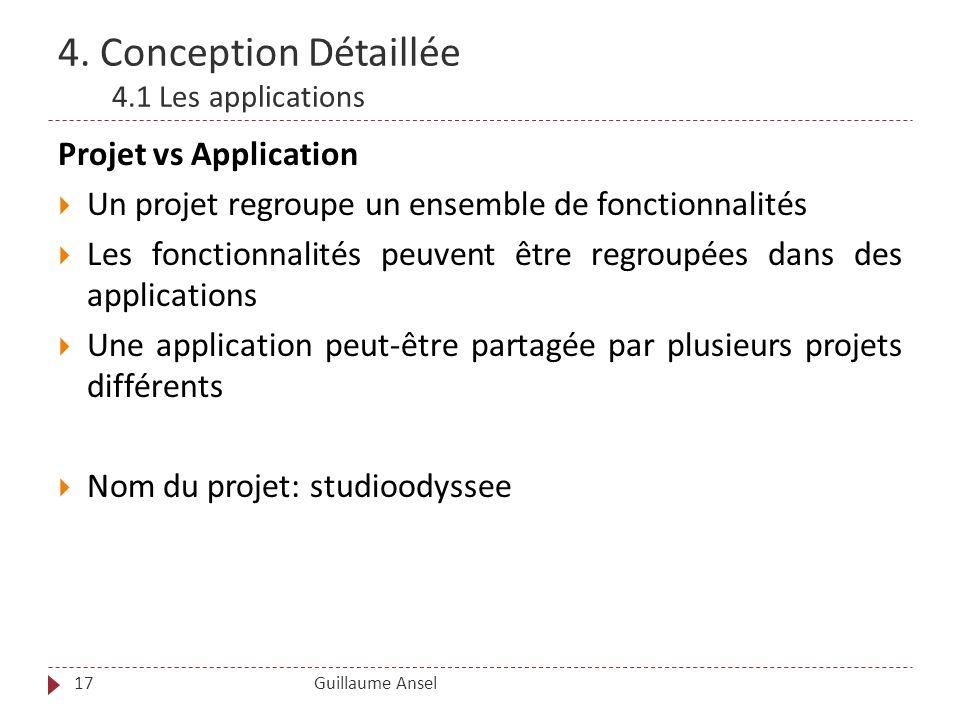 4. Conception Détaillée 4.1 Les applications Guillaume Ansel17 Projet vs Application Un projet regroupe un ensemble de fonctionnalités Les fonctionnal