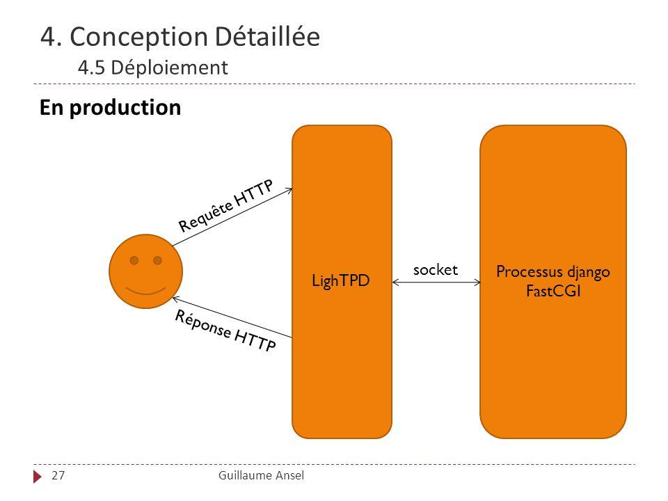 4. Conception Détaillée 4.5 Déploiement Guillaume Ansel27 En production LighTPD Processus django FastCGI socket Requête HTTP Réponse HTTP
