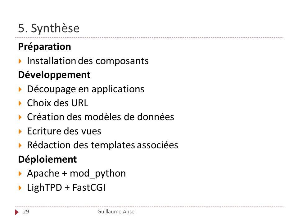 5. Synthèse Guillaume Ansel29 Préparation Installation des composants Développement Découpage en applications Choix des URL Création des modèles de do