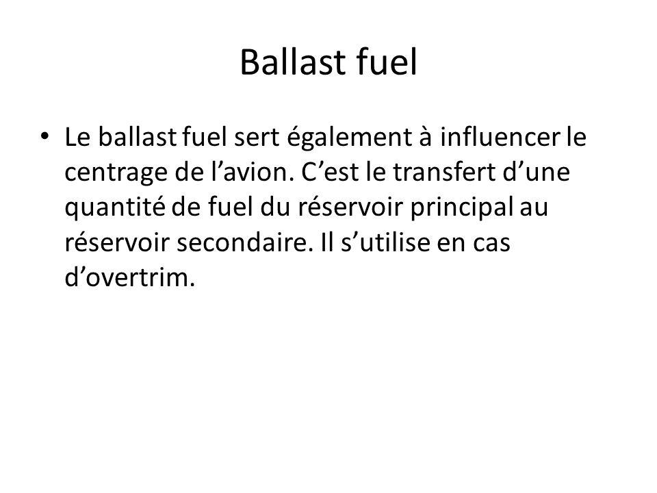 Ballast fuel Le ballast fuel sert également à influencer le centrage de lavion. Cest le transfert dune quantité de fuel du réservoir principal au rése