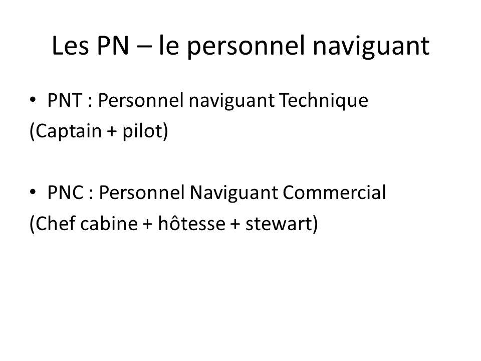 Les PN – le personnel naviguant PNT : Personnel naviguant Technique (Captain + pilot) PNC : Personnel Naviguant Commercial (Chef cabine + hôtesse + st