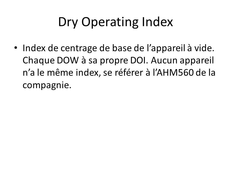 Dry Operating Index Index de centrage de base de lappareil à vide. Chaque DOW à sa propre DOI. Aucun appareil na le même index, se référer à lAHM560 d