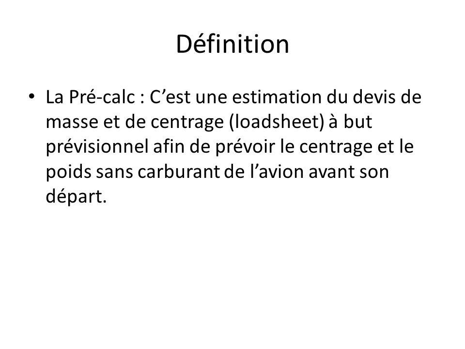 Définition La Pré-calc : Cest une estimation du devis de masse et de centrage (loadsheet) à but prévisionnel afin de prévoir le centrage et le poids sans carburant de lavion avant son départ.