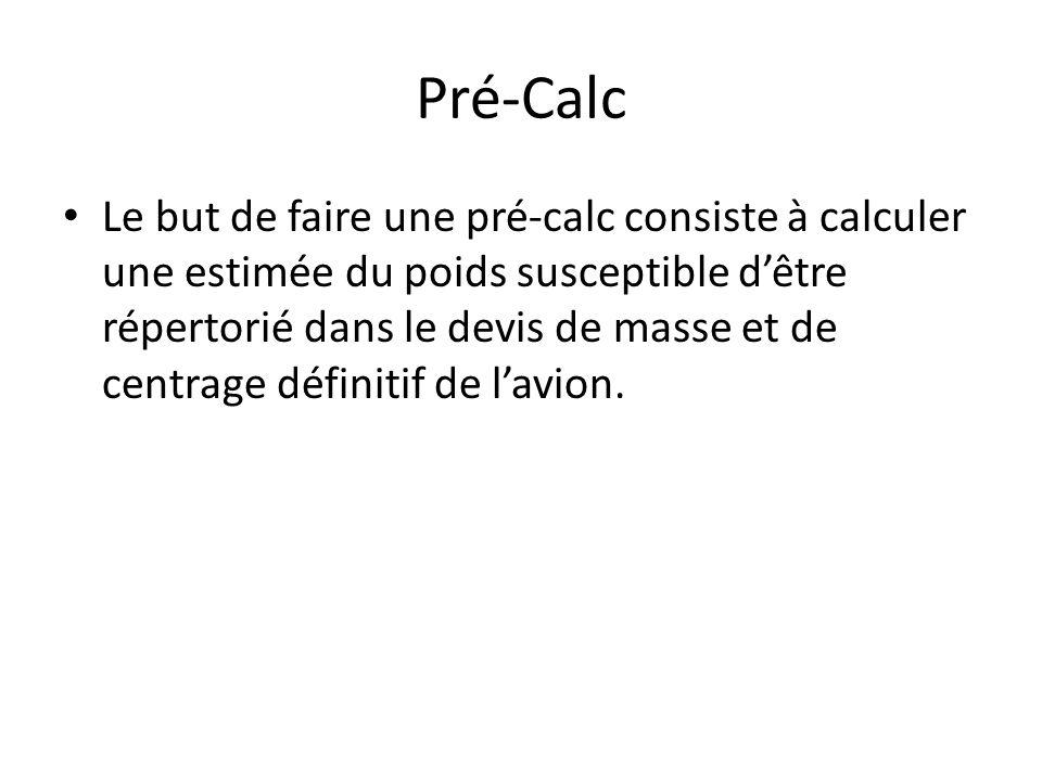 Pré-Calc Le but de faire une pré-calc consiste à calculer une estimée du poids susceptible dêtre répertorié dans le devis de masse et de centrage définitif de lavion.