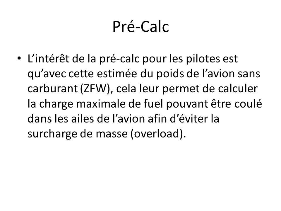 Pré-Calc Lintérêt de la pré-calc pour les pilotes est quavec cette estimée du poids de lavion sans carburant (ZFW), cela leur permet de calculer la charge maximale de fuel pouvant être coulé dans les ailes de lavion afin déviter la surcharge de masse (overload).