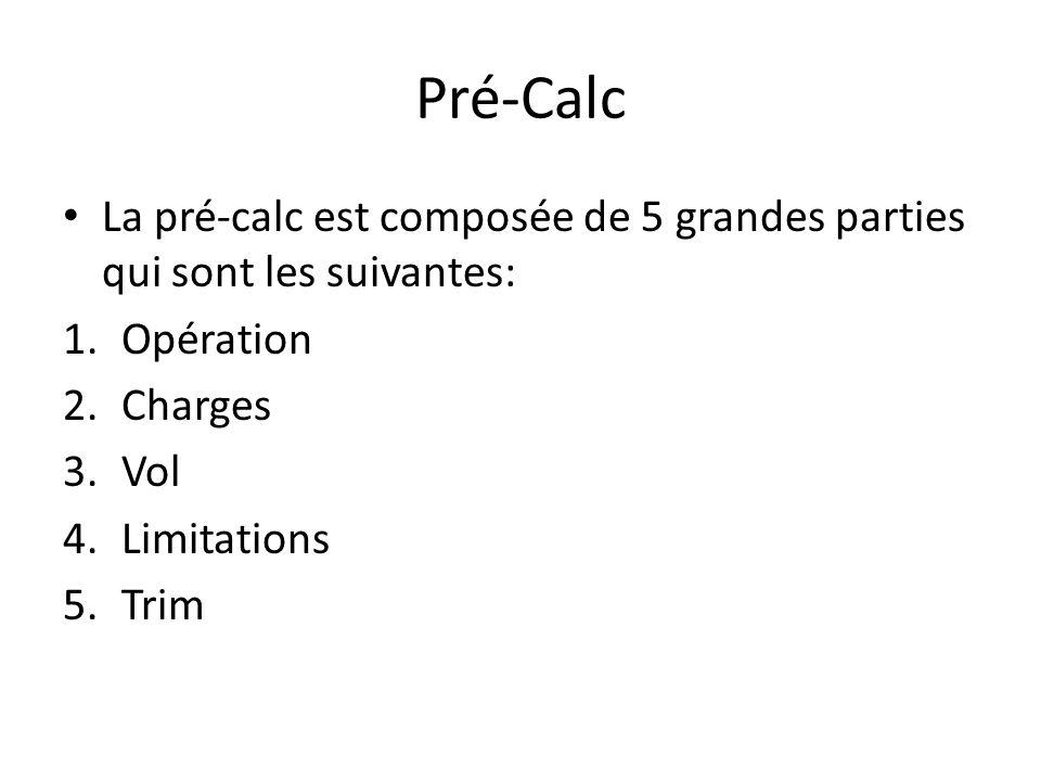 Pré-Calc La pré-calc est composée de 5 grandes parties qui sont les suivantes: 1.Opération 2.Charges 3.Vol 4.Limitations 5.Trim