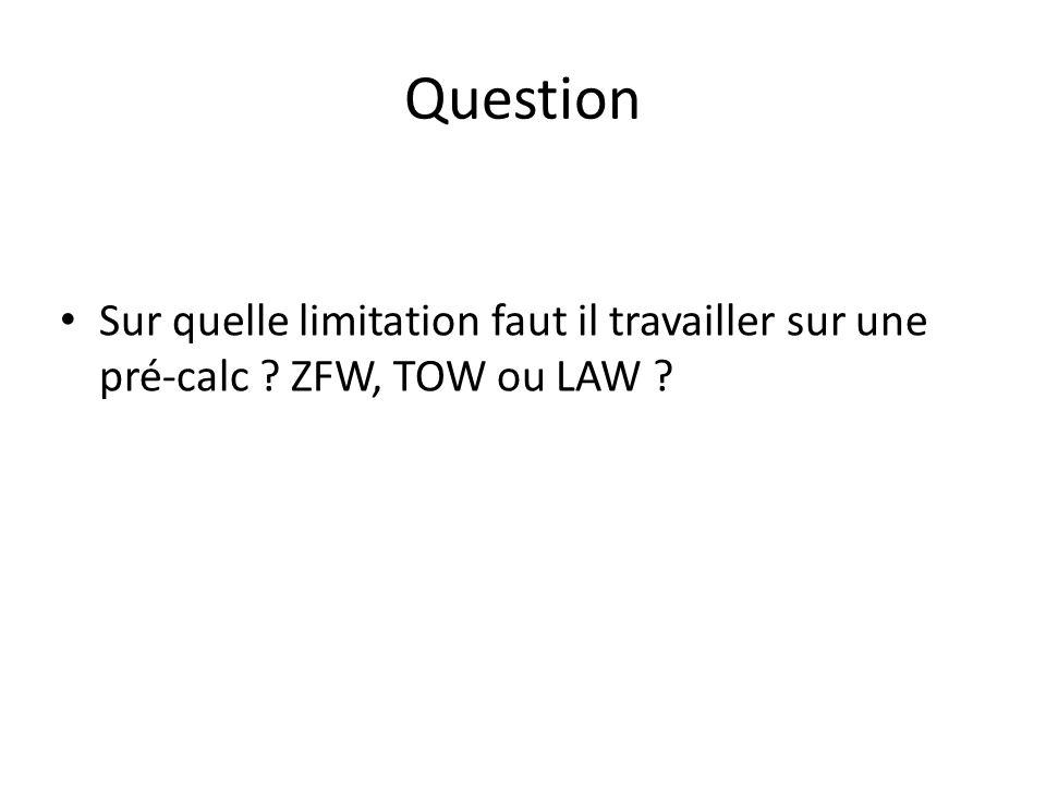 Question Sur quelle limitation faut il travailler sur une pré-calc ? ZFW, TOW ou LAW ?