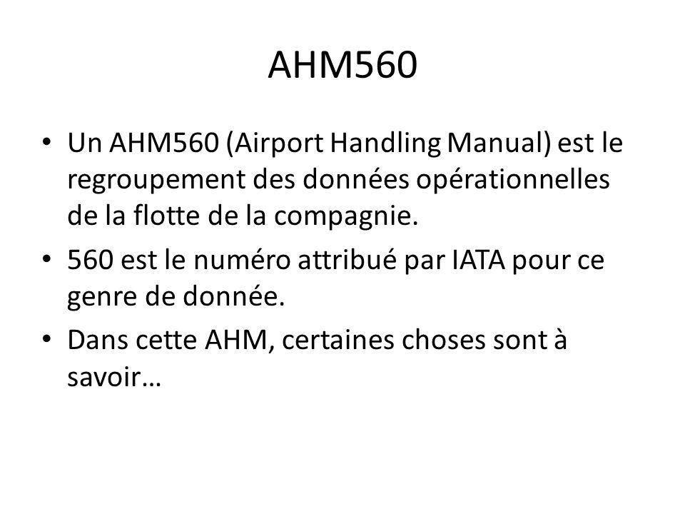 AHM560 Un AHM560 (Airport Handling Manual) est le regroupement des données opérationnelles de la flotte de la compagnie. 560 est le numéro attribué pa