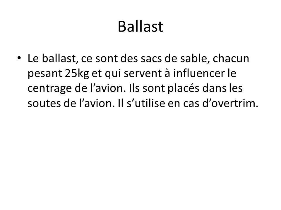 Ballast Le ballast, ce sont des sacs de sable, chacun pesant 25kg et qui servent à influencer le centrage de lavion. Ils sont placés dans les soutes d