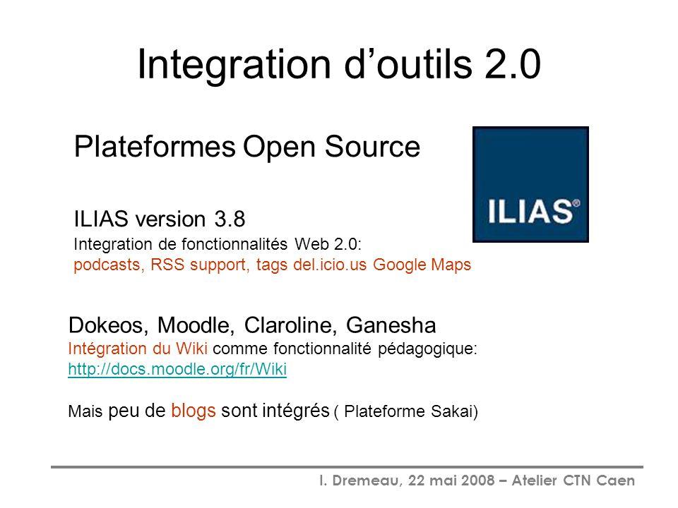 I. Dremeau, 22 mai 2008 – Atelier CTN Caen Integration doutils 2.0 Plateformes Open Source ILIAS version 3.8 Integration de fonctionnalités Web 2.0: p