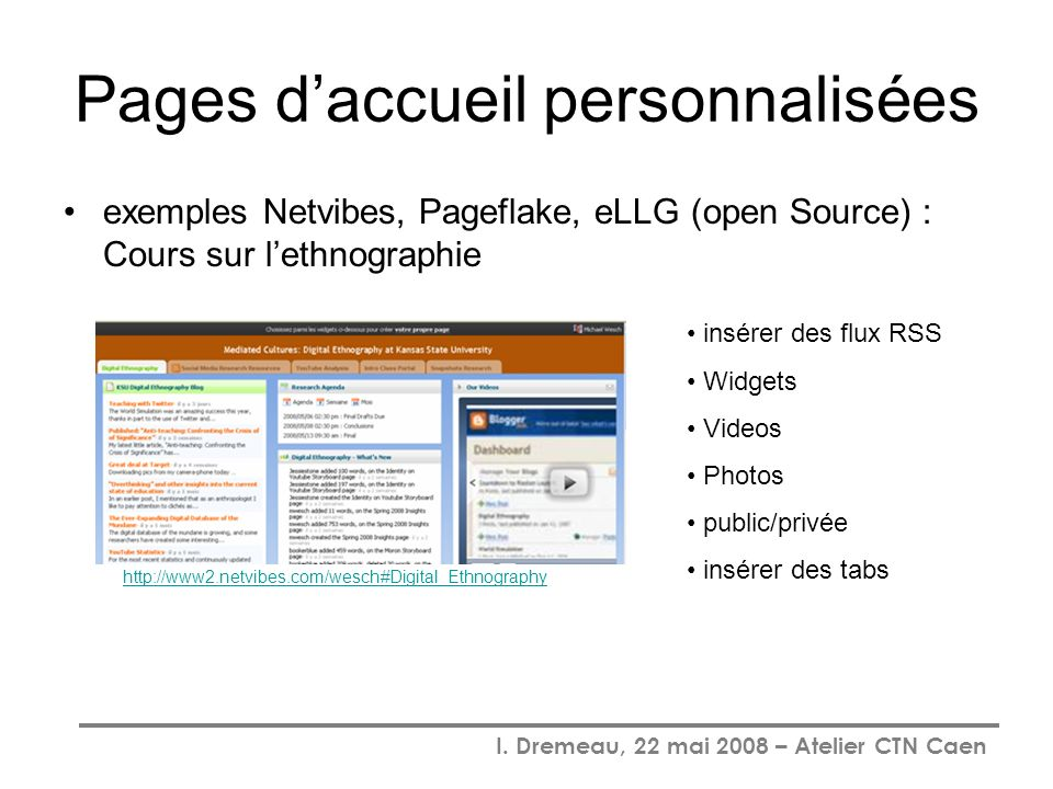 I. Dremeau, 22 mai 2008 – Atelier CTN Caen Pages daccueil personnalisées exemples Netvibes, Pageflake, eLLG (open Source) : Cours sur lethnographie ht