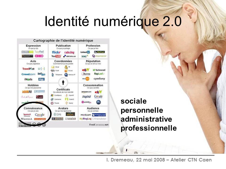 I. Dremeau, 22 mai 2008 – Atelier CTN Caen Identité numérique 2.0 sociale personnelle administrative professionnelle