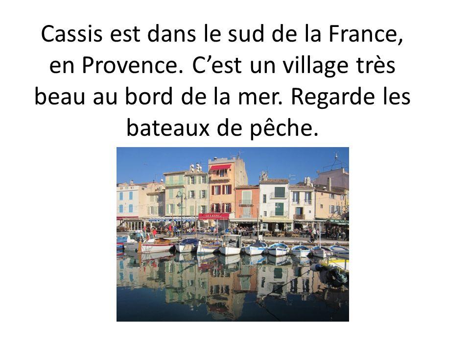 Cassis est dans le sud de la France, en Provence. Cest un village très beau au bord de la mer. Regarde les bateaux de pêche.