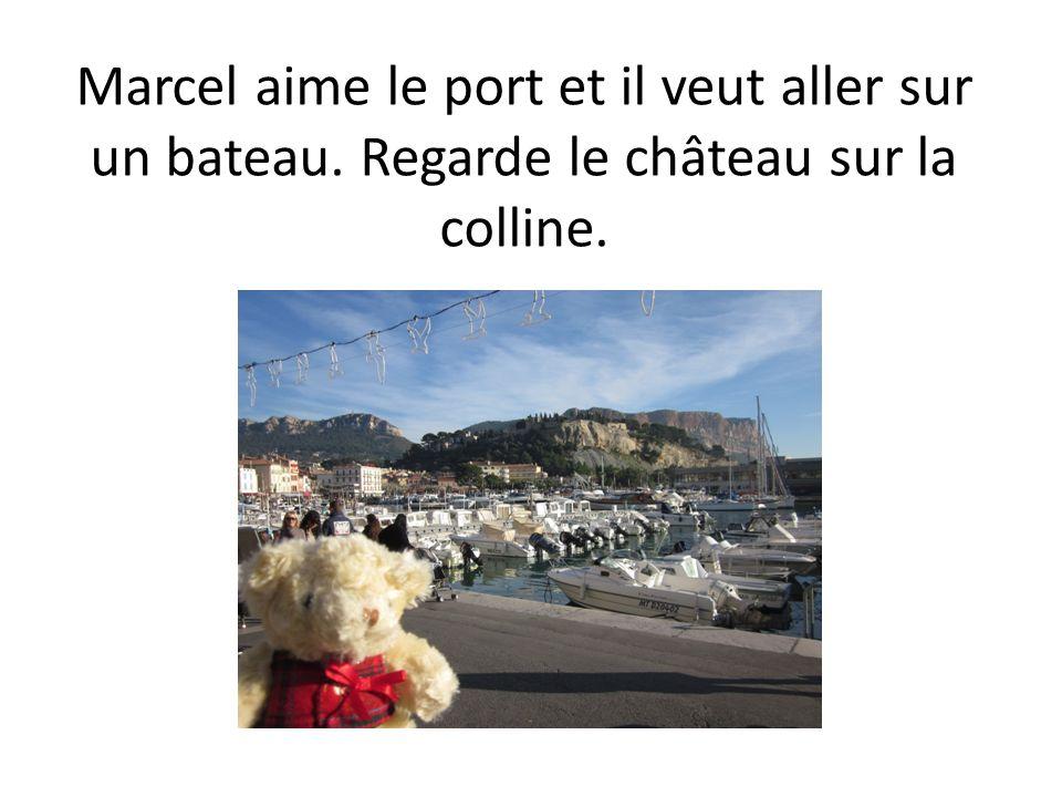 Marcel aime le port et il veut aller sur un bateau. Regarde le château sur la colline.