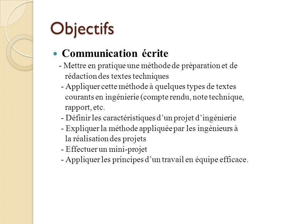 Objectifs Communication écrite - Mettre en pratique une méthode de préparation et de rédaction des textes techniques - Appliquer cette méthode à quelq