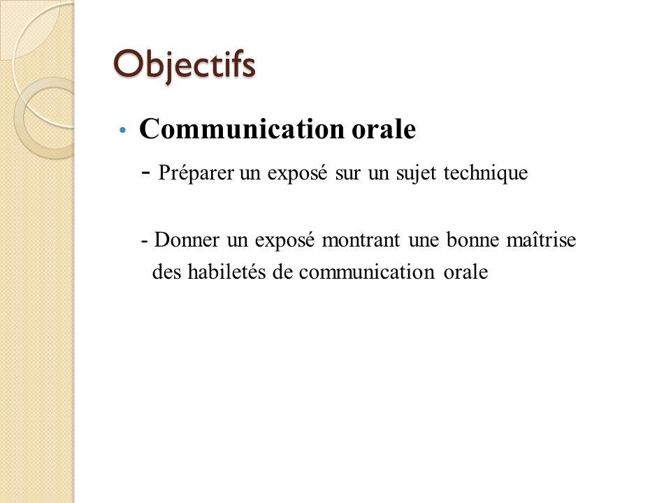 Objectifs Communication orale - Préparer un exposé sur un sujet technique - Donner un exposé montrant une bonne maîtrise des habiletés de communicatio