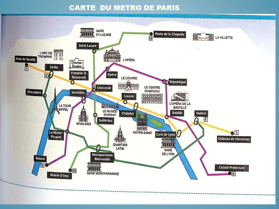 CARTE DU METRO DE PARIS