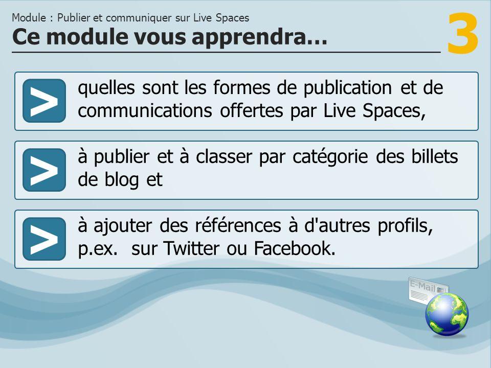 3 >> à publier et à classer par catégorie des billets de blog et à ajouter des références à d autres profils, p.ex.