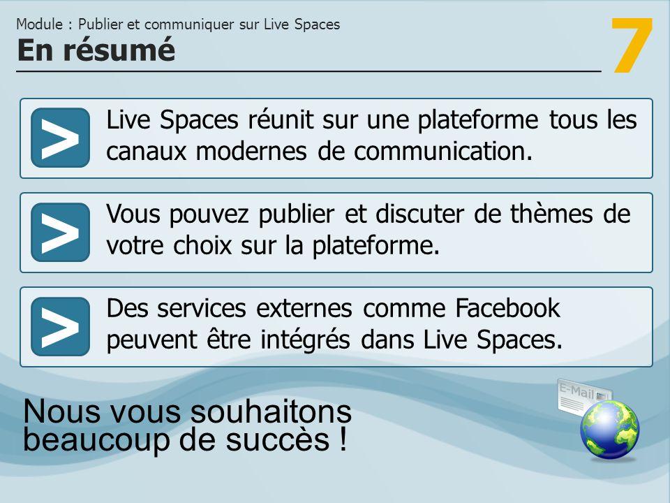 7 >>> Live Spaces réunit sur une plateforme tous les canaux modernes de communication.