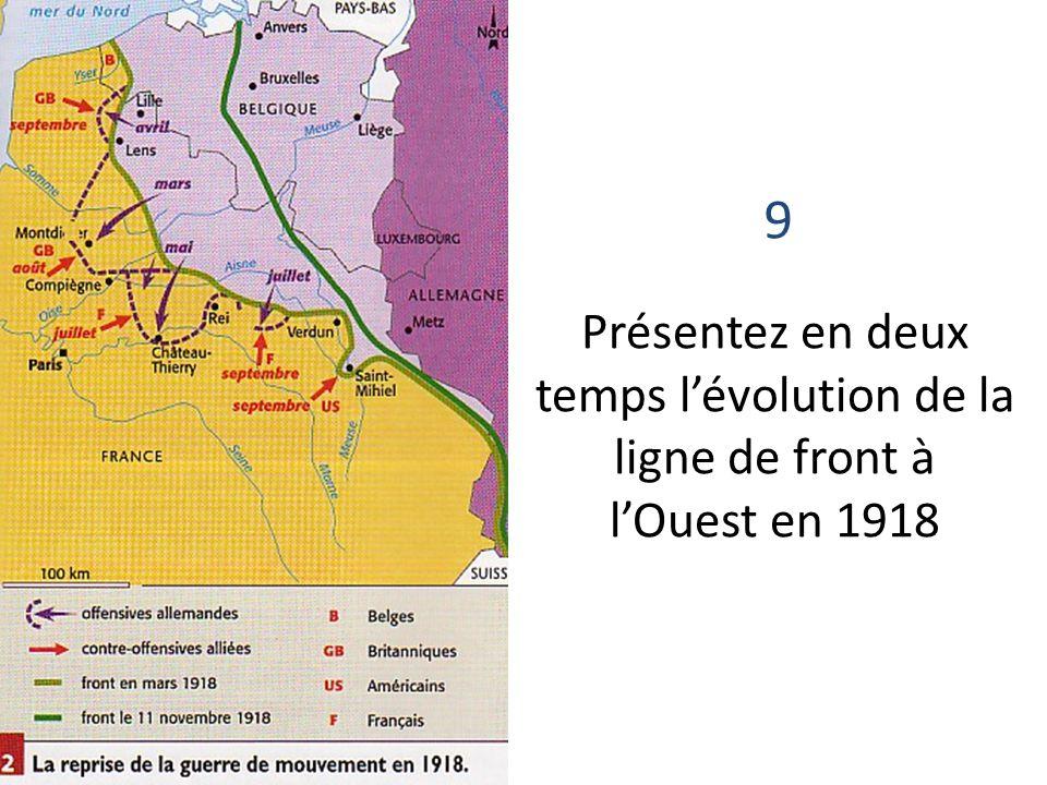9 Présentez en deux temps lévolution de la ligne de front à lOuest en 1918