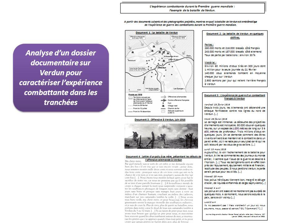 Analyse dun dossier documentaire sur Verdun pour caractériser lexpérience combattante dans les tranchées
