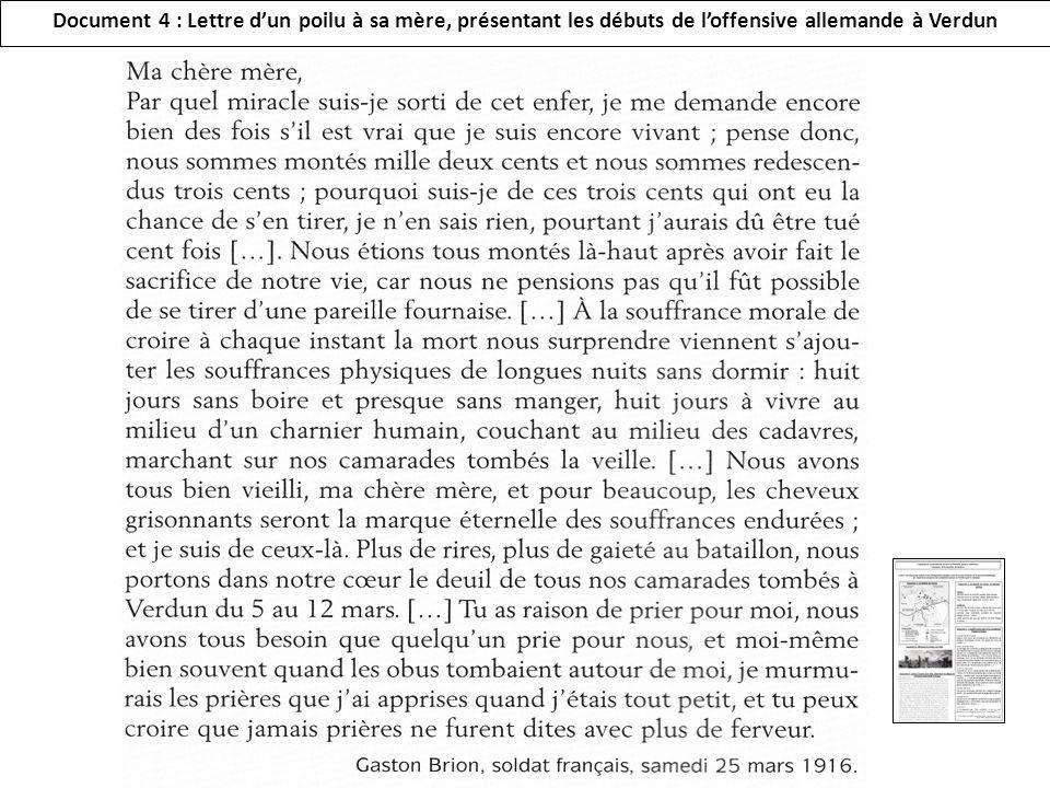 Document 4 : Lettre dun poilu à sa mère, présentant les débuts de loffensive allemande à Verdun