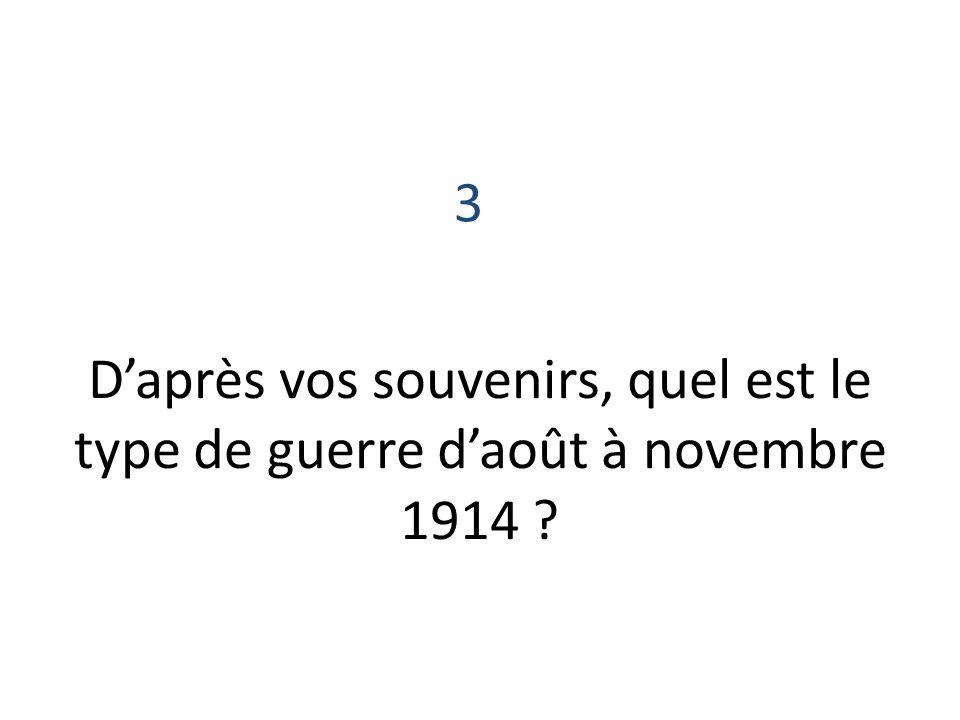 Daprès vos souvenirs, quel est le type de guerre daoût à novembre 1914 ? 3