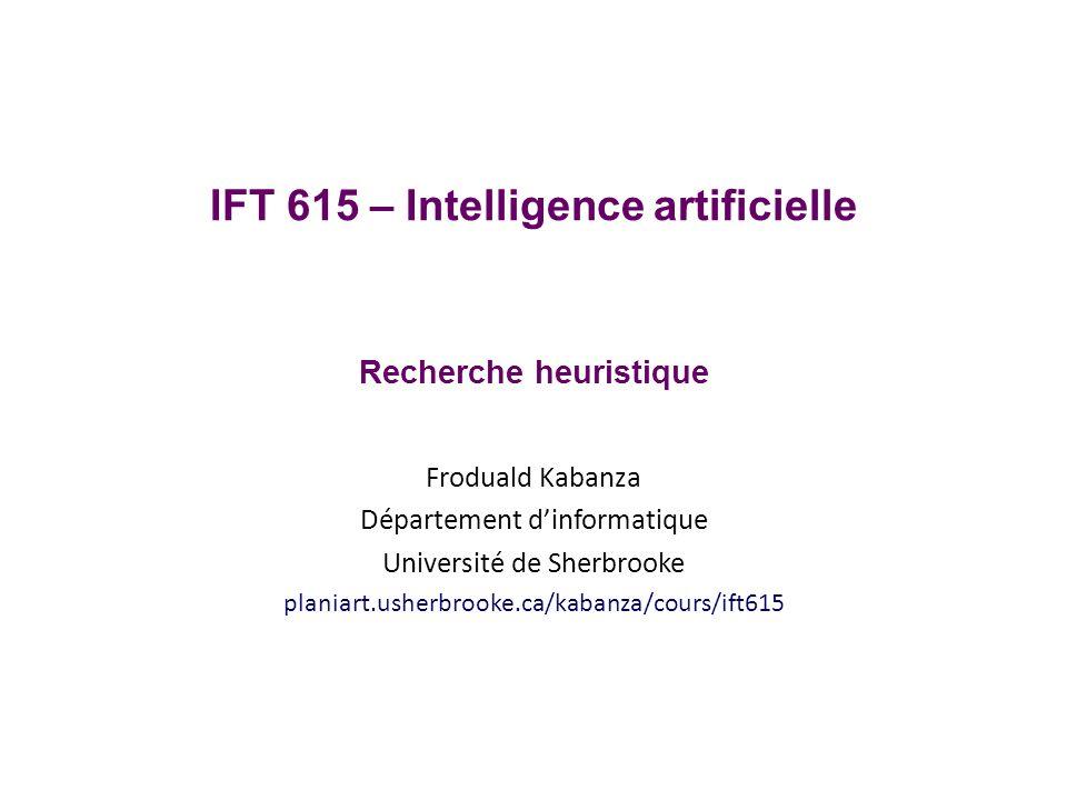Objectifs Résolution de problème par recherche Comprendre lalgorithme A* Implémenter A* Appliquer A* à un problème donné Comprendre la notion dheuristique IFT615 2 Froduald Kabanza