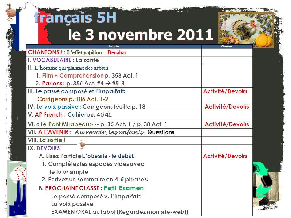français 5H le 3 novembre 2011