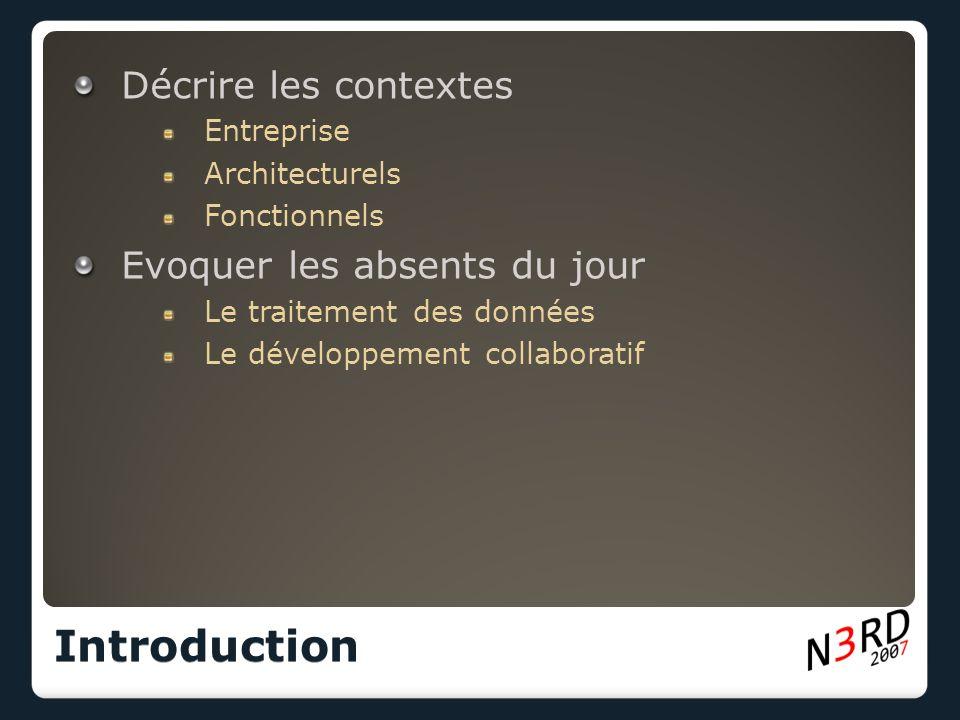 Décrire les contextes Entreprise Architecturels Fonctionnels Evoquer les absents du jour Le traitement des données Le développement collaboratif Introduction