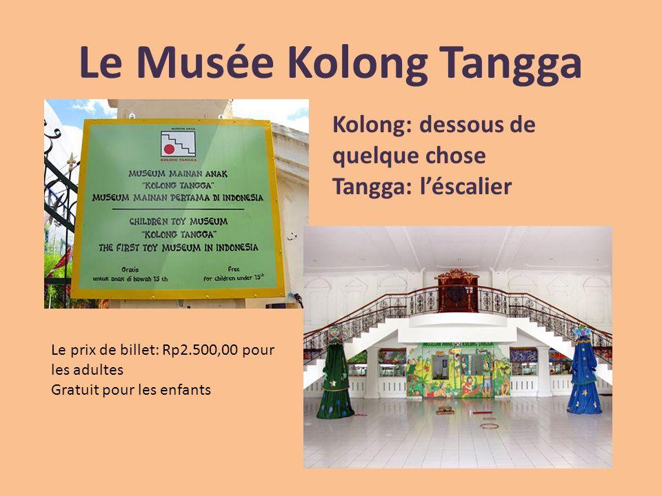 Le Musée Kolong Tangga Kolong: dessous de quelque chose Tangga: léscalier Le prix de billet: Rp2.500,00 pour les adultes Gratuit pour les enfants