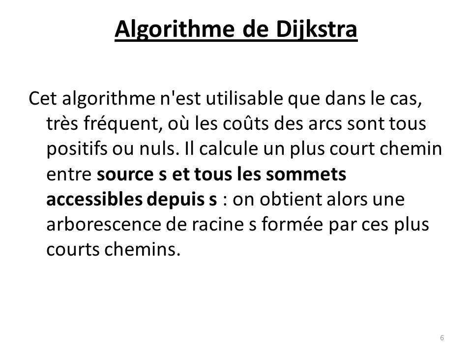 Algorithme de Dijkstra Cet algorithme n'est utilisable que dans le cas, très fréquent, où les coûts des arcs sont tous positifs ou nuls. Il calcule un