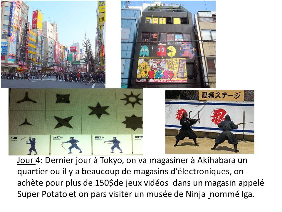 Jour 4: Dernier jour à Tokyo, on va magasiner à Akihabara un quartier ou il y a beaucoup de magasins délectroniques, on achète pour plus de 150$de jeux vidéos dans un magasin appelé Super Potato et on pars visiter un musée de Ninja nommé Iga.