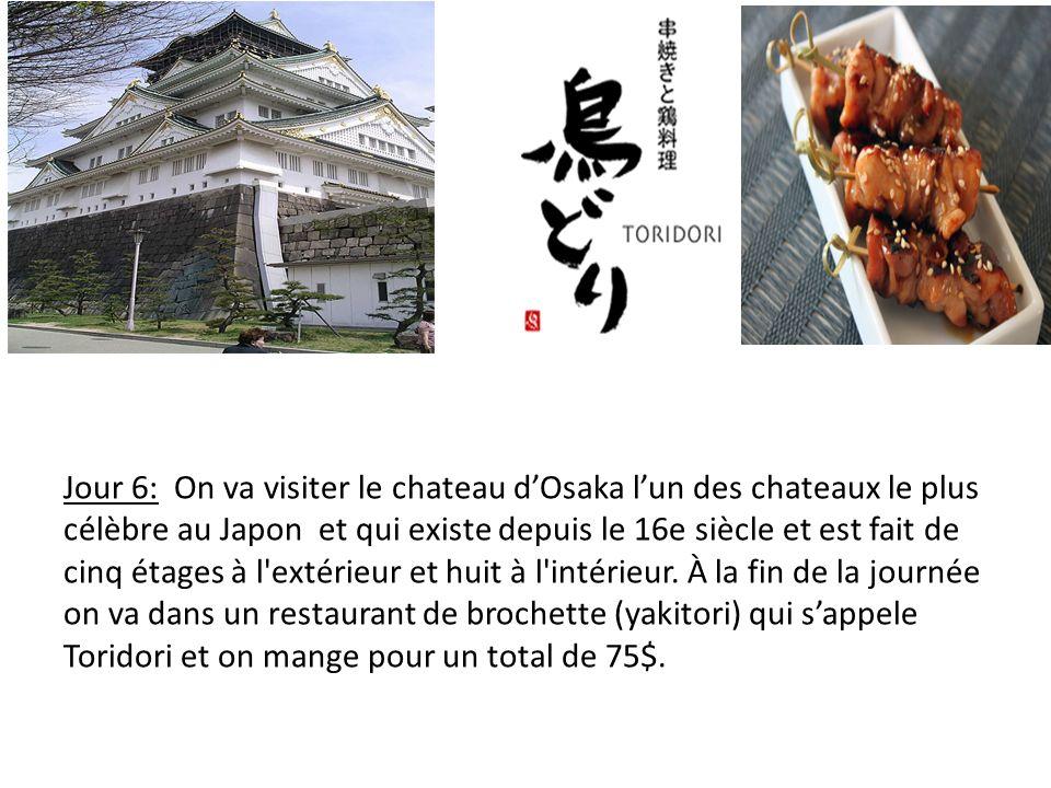 Jour 6: On va visiter le chateau dOsaka lun des chateaux le plus célèbre au Japon et qui existe depuis le 16e siècle et est fait de cinq étages à l extérieur et huit à l intérieur.