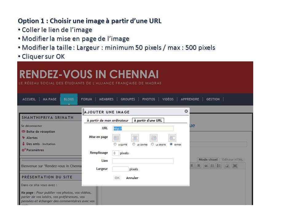 Option 1 : Choisir une image à partir dune URL Coller le lien de limage Coller le lien de limage Modifier la mise en page de limage Modifier la mise en page de limage Modifier la taille : Largeur : minimum 50 pixels / max : 500 pixels Modifier la taille : Largeur : minimum 50 pixels / max : 500 pixels Cliquer sur OK Cliquer sur OK