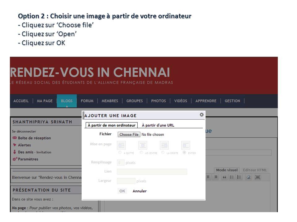 Option 2 : Choisir une image à partir de votre ordinateur - Cliquez sur Choose file - Cliquez sur Open - Cliquez sur OK