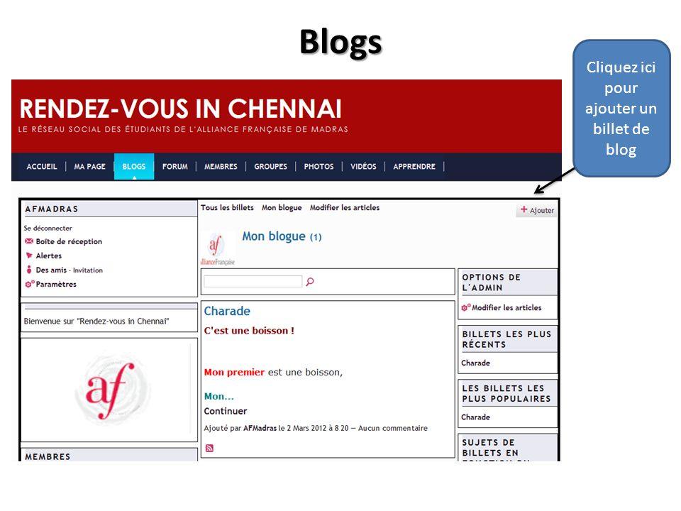 Blogs Cliquez ici pour ajouter un billet de blog
