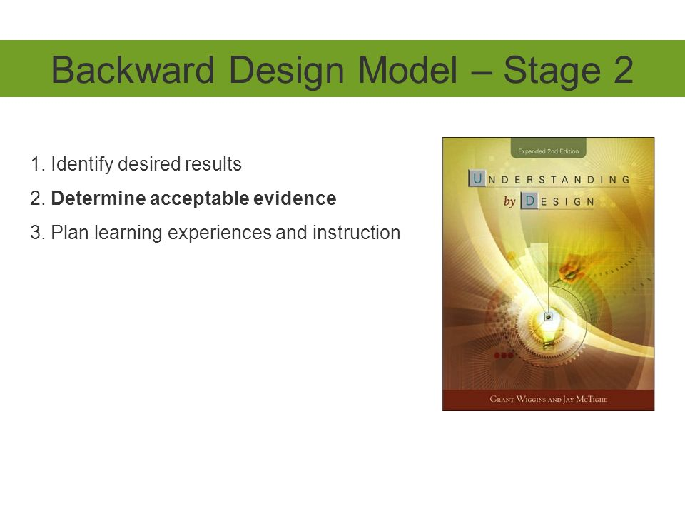 Backward Design Model – Stage 2 1. Identify desired results 2. Determine acceptable evidence 3. Plan learning experiences and instruction