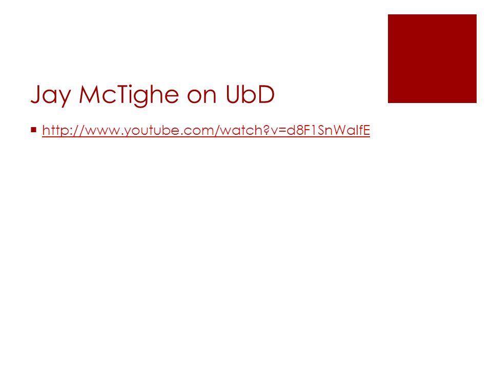 Grant Wiggins on UbD http://www.youtube.com/watch?v=WsDgfC3SjhM