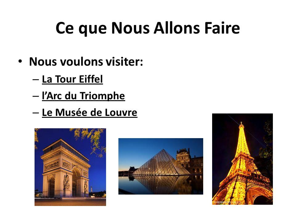 Ce que Nous Allons Faire Nous voulons visiter: – La Tour Eiffel – lArc du Triomphe – Le Musée de Louvre
